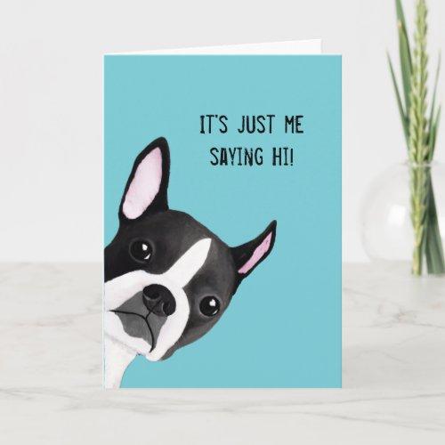 Peeking Boston Terrier Illustrated Greeting Card