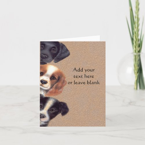 Peeking Puppy Dogs Note card, Thank you cards