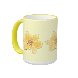 Penciled Yellow Floral Coffee Mugs