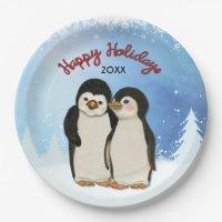Penguin Christmas Paper Plates | Zazzle