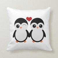 Penguin couple pillow | Zazzle
