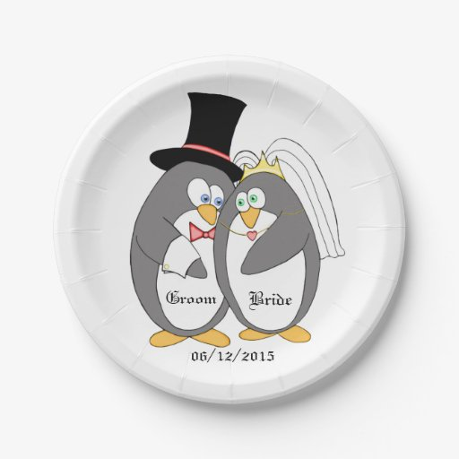 Penguin Love Personalized Wedding Paper Plates 7 Inch