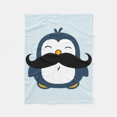 Penguin Mustache Trend Fleece Blanket
