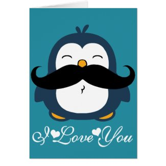 Penguin Mustache Trend I Love You Card