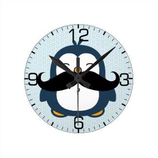 Penguin Mustache Trend Round Clock