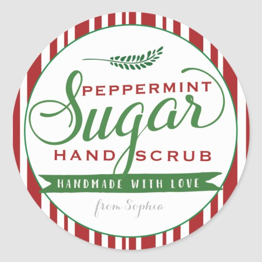 Peppermint Sugar Scrub Labels Custom Mason Jar Zazzle