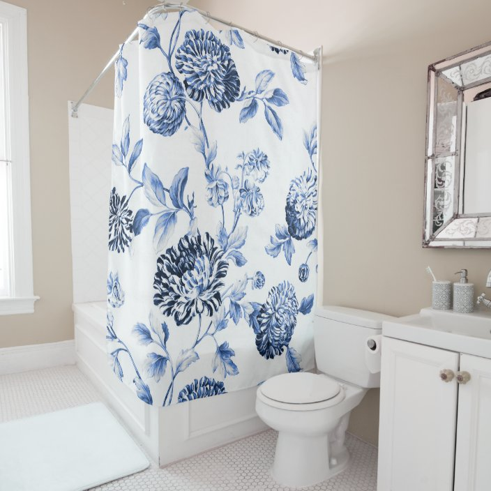 periwinkle blu white botanical floral toile no 2 shower curtain zazzle com