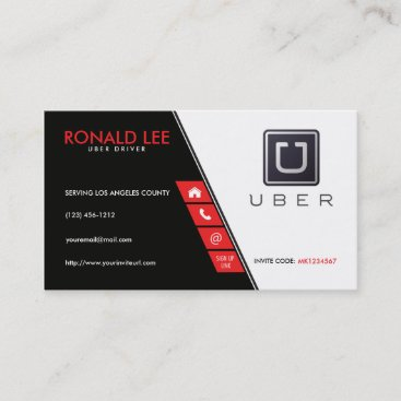 Personal Ride Sharing Uber Driver Business Card
