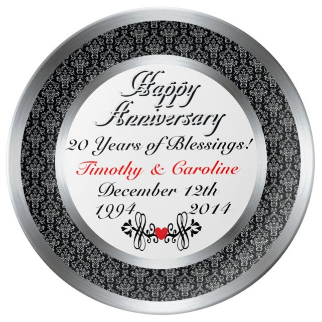 Personalized 20th Anniversary Porcelain Plate