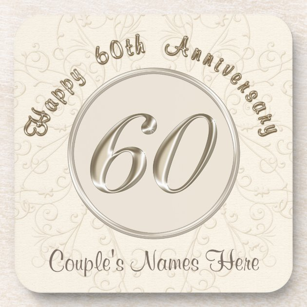 Personalized 60th Wedding Anniversary Gifts Drink Coaster