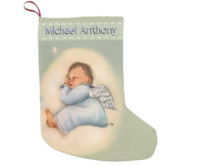 Personalized Baby Boy Vintage Sleeping Angel Small Christmas Stocking