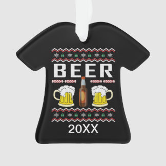 Personalized Beer Ugly Christmas Sweater Ornament