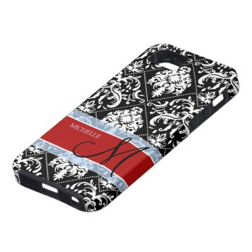 Personalized Black and White Damask with Mongram iPhone SE/5/5s Case