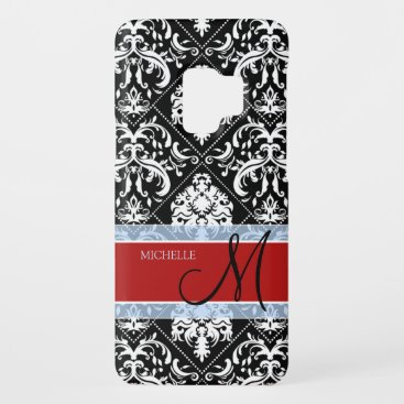 Personalized Black and White Damask with Mongram Case-Mate Samsung Galaxy S9 Case