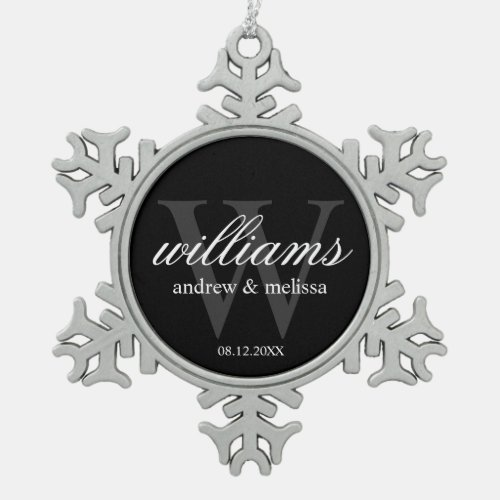 Personalized Black and White Monogram Snowflake Pewter Christmas Ornament