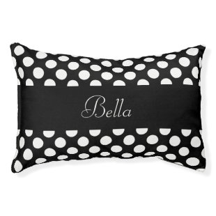 Personalized Black and White Polka Dot Small Dog Bed
