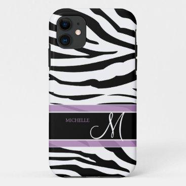 Personalized Black and White Zebra Stripes iPhone 11 Case