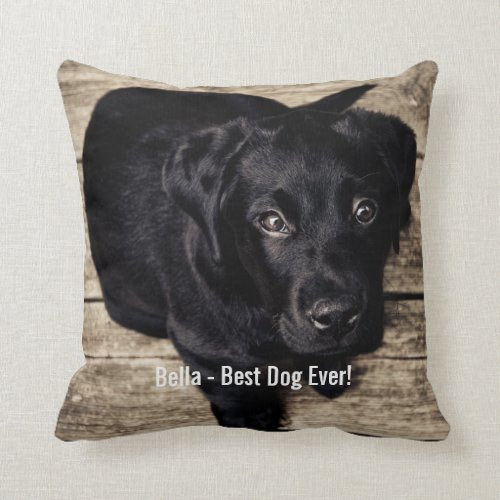 Personalized Black Lab Dog Photo and Dog Name Pillow