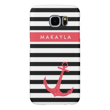 Personalized Black Stripes with Hot Pink Anchor Samsung Galaxy S6 Case