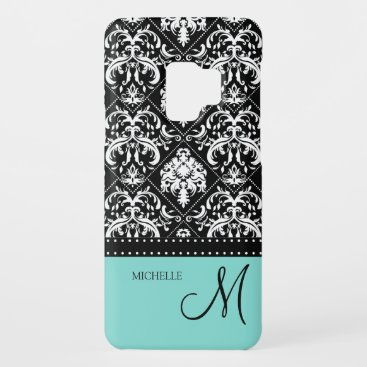 Personalized black & white damask with teal blue Case-Mate samsung galaxy s9 case