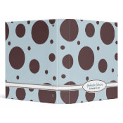 Personalized Blue & Brown Polka Dot Binder