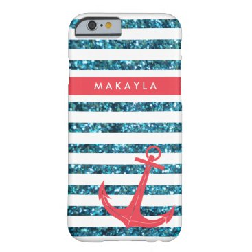 Personalized Blue Glitter Stripes with Pink Anchor Barely There iPhone 6 Case