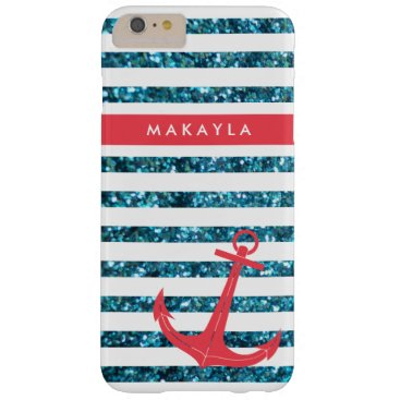 Personalized Blue Glitter Stripes with Pink Anchor Barely There iPhone 6 Plus Case