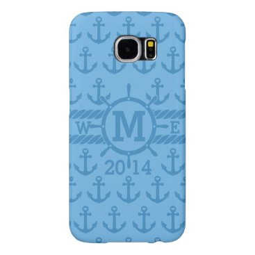Personalized Blues Nautical Anchors Pattern Samsung Galaxy S6 Case