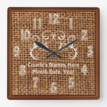 Personalized Burlap and Lace Rustic Wedding Gifts Square Wallclocks