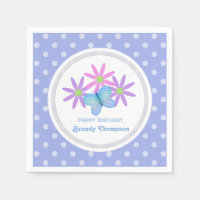 Personalized Butterfly And Daisy Birthday Napkins
