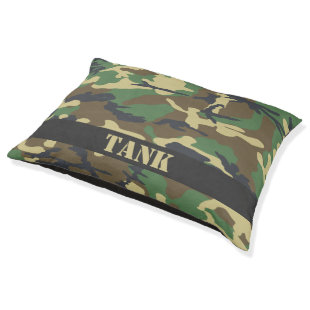 Personalized Camouflaged Large Dog Bed
