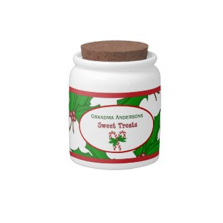 Personalized: Candy Cane And Holly: Candy Jar