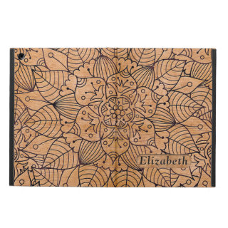 Personalized Carved Wood Floral Mandala Case For iPad Air