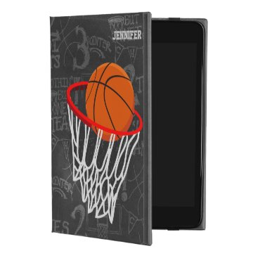 Personalized Chalkboard Basketball and Hoop iPad Mini 4 Case