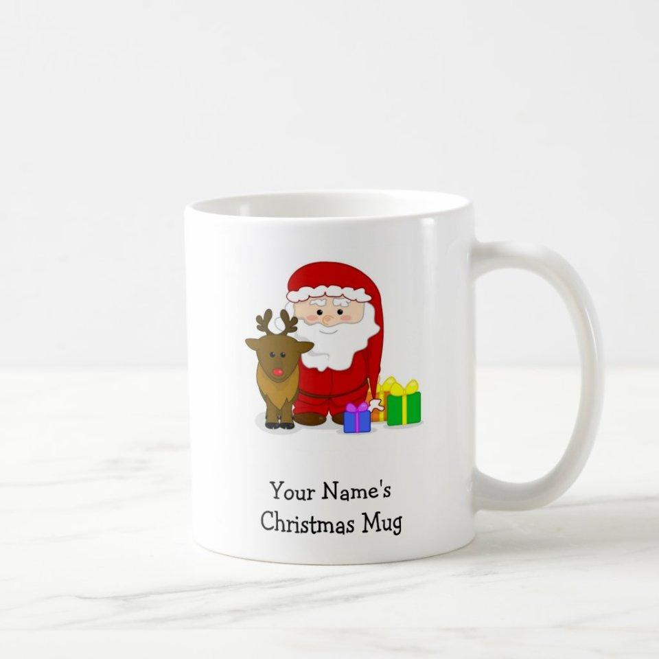 Personalized Christmas Mug - Santa and Reindeer