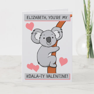 Personalized Cute Koala-ty Valentine Greeting Card