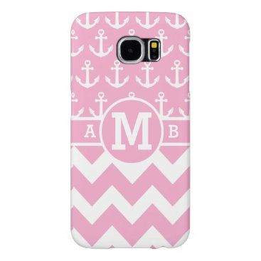 Personalized Cute Pink Nautical Anchors Pattern Samsung Galaxy S6 Case