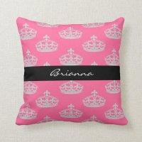 Personalized Diamond Princess Crown Throw Pillow | Zazzle
