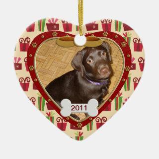 Personalized Dog Photo Frame Ceramic Ornament