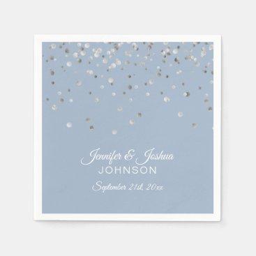 Personalized Dusty BLUE Silver Confetti Wedding Napkin