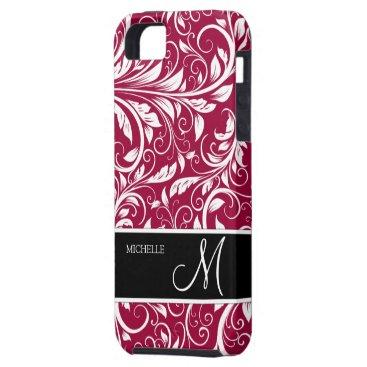 Personalized Eleagant Burgundy and White Damask iPhone SE/5/5s Case