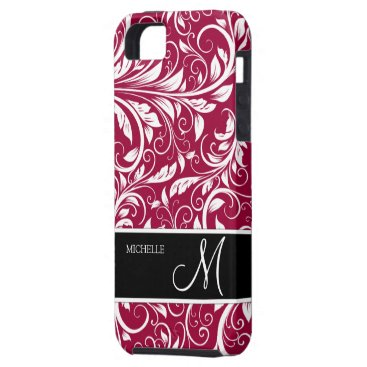 Personalized Eleagant Burgundy and White Damask iPhone SE/5/5s Case