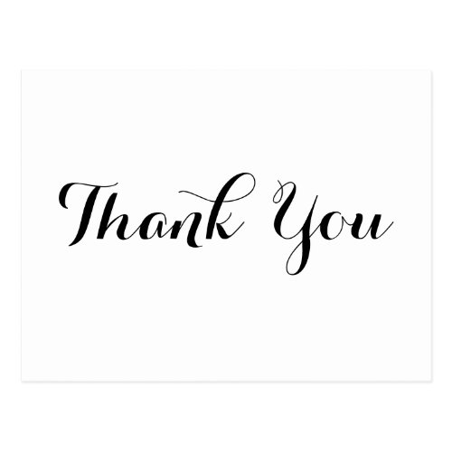 Personalized Elegant Black Script White Thank You Postcard