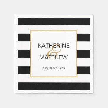 Personalized Elegant Gold Frame Wedding Paper Napkin