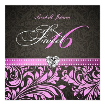 Personalized Elegant Pink & Black Damask Sweet 16 Invitation
