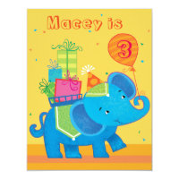 Personalized Elephant Birthday Invitation
