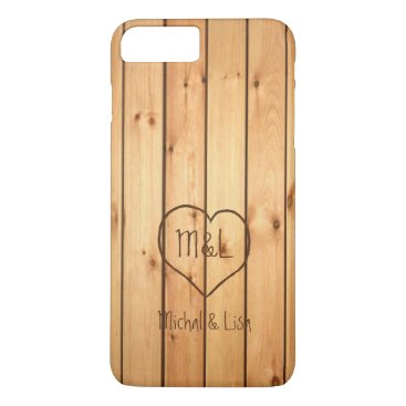 Personalized engraved heart Sauna Wood Panels iPhone 8 Plus/7 Plus Case