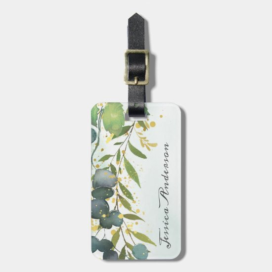 Personalized Eucalyptus Greenery Gold Luggage Tag