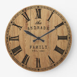 Personalized Family Name Rustic Farmhouse Wooden Large Clock
