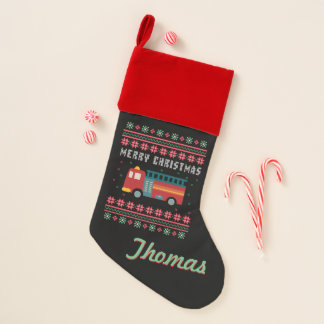 Personalized Fire Truck Ugly Christmas Sweater Christmas Stocking